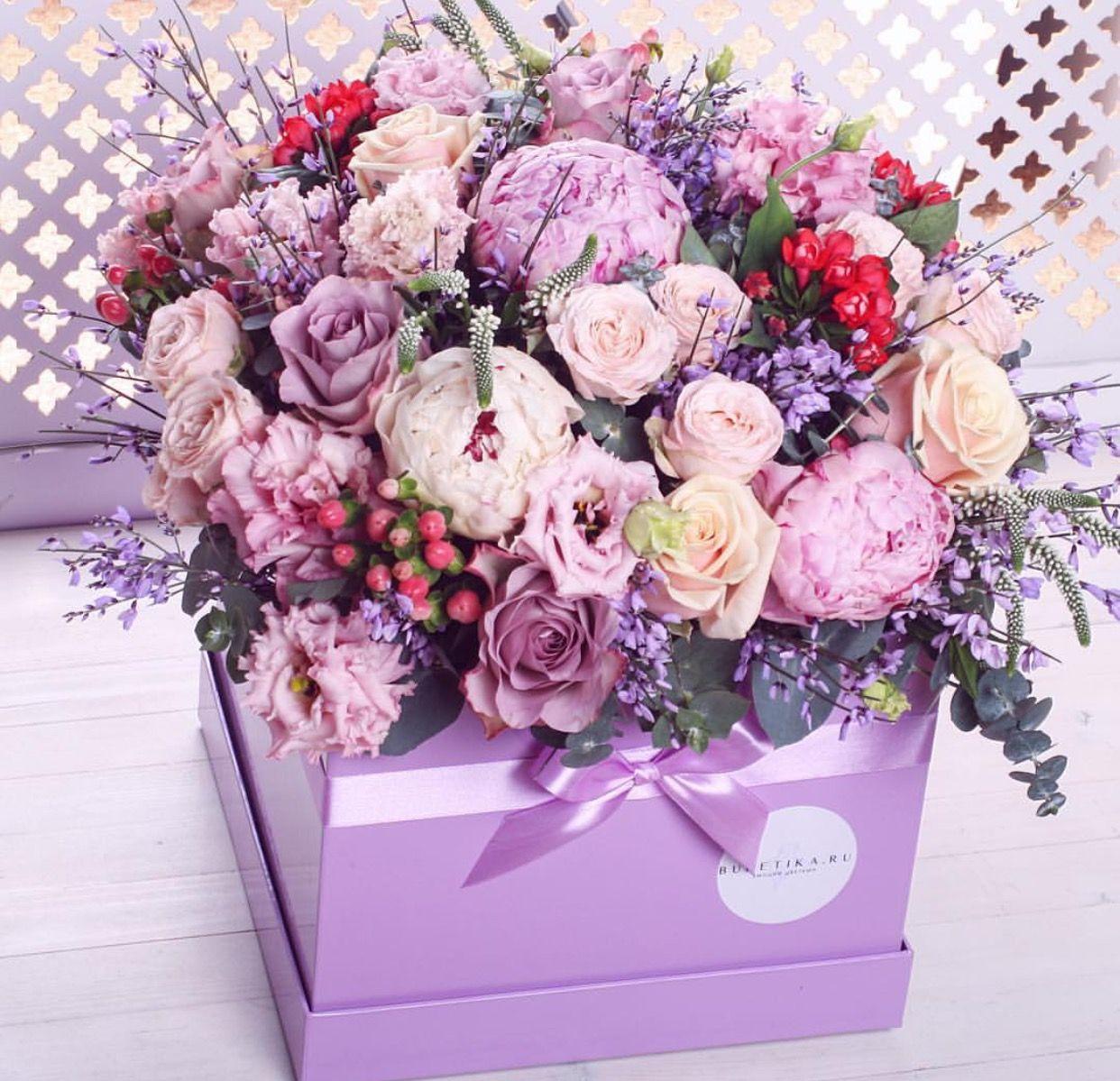Открытки, день рождения женщине картинки цветы в коробке