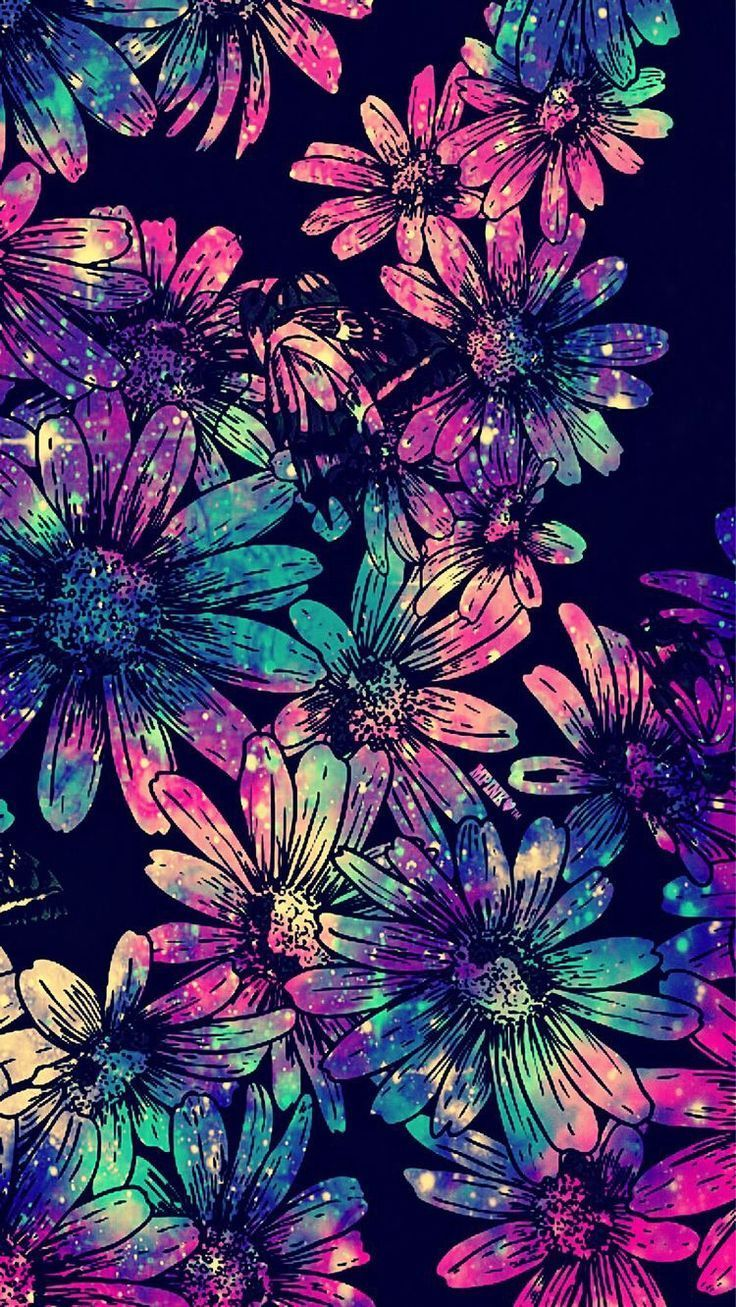 Floral Galaxy Wallpaper Art Wallpaper Glitter Wallpaper