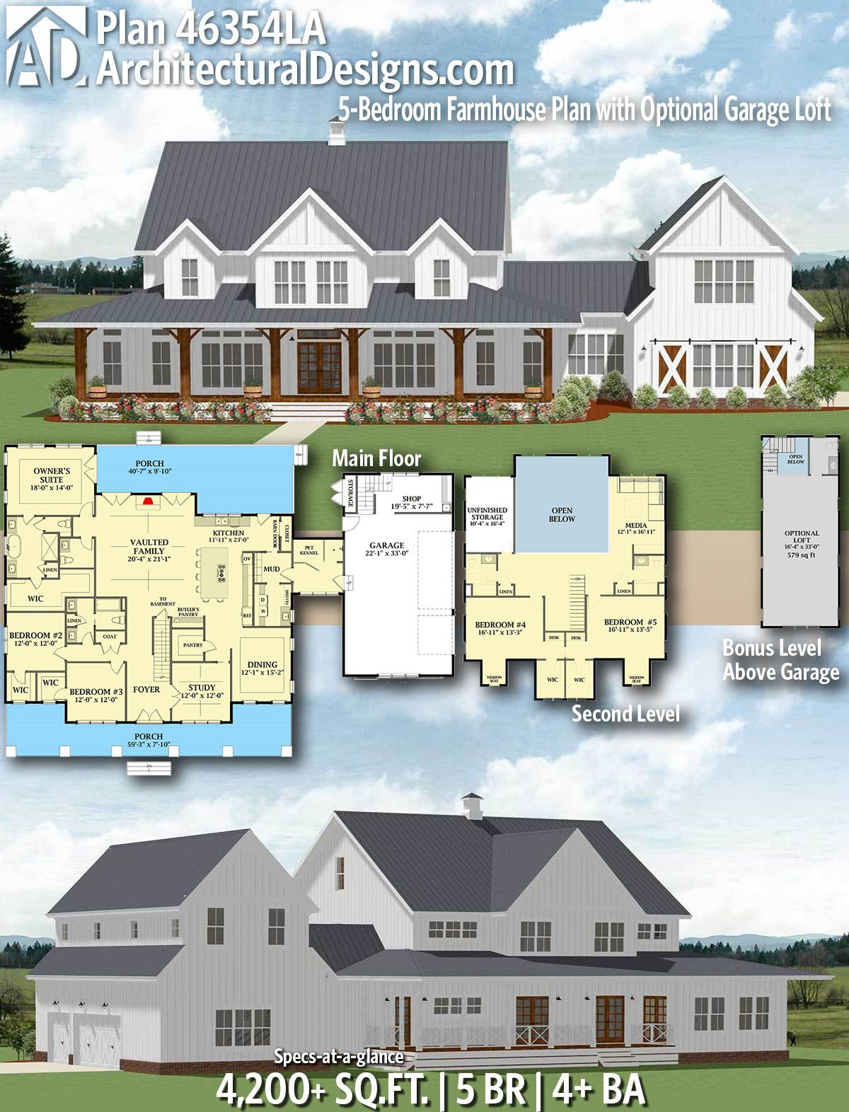 Architectural Designs Farmhouse Plan 46354la Gives You 5 Bedrooms 4 Baths And 4 200 Sq Ft Rea House Plans Farmhouse Farmhouse Plans Modern Farmhouse Plans