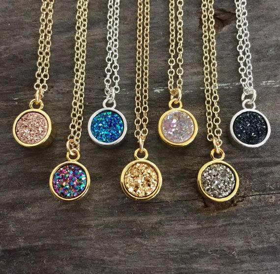Mothers Day Flash Sale - Now through Mothers Day this necklace is reduced to just $28! Super sparkly druzy quartz gemstone glides freely on a delicate cable chain. Natural, round druzy stone is vapor coated with titanium to bring out a brilliant, consistent color. Druzy is AAA grade, 100% genuine. It is housed in a bright bezel setting, creating a beautiful contrast of tones and textures. Druzy measures 7mm round; pendant measures 8mm, not including top loop. Available colors: - Opal (White A...