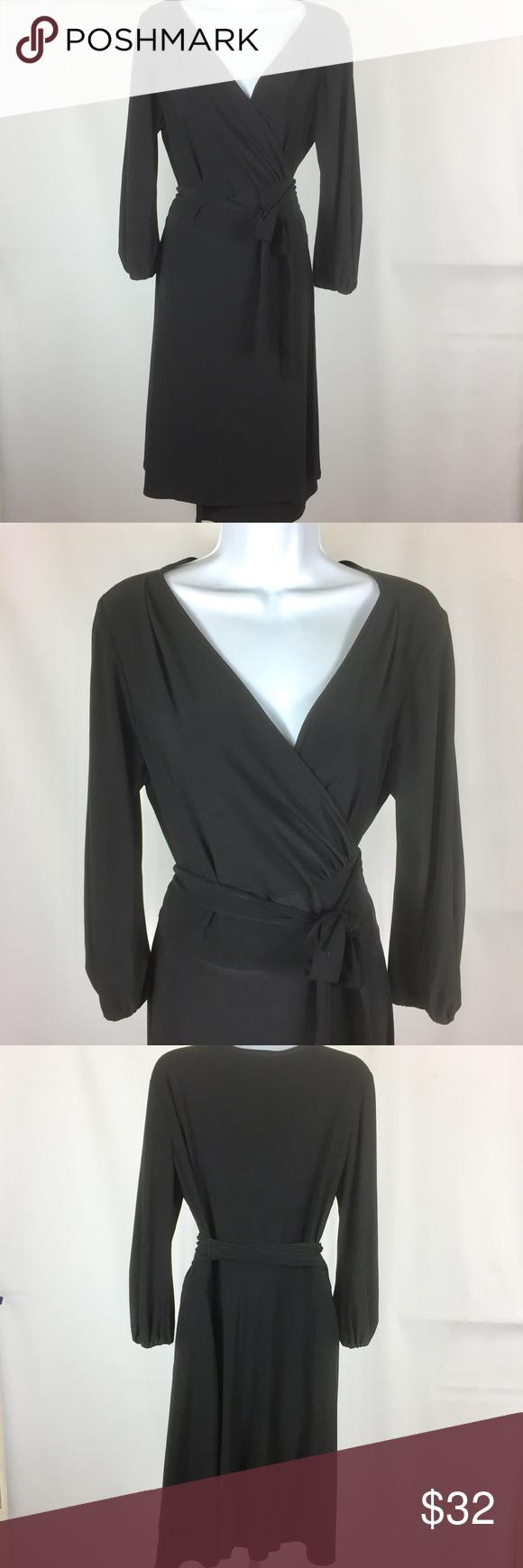 Jones new york wrap dress black size p bust measurement is