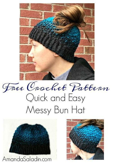 Quick and Easy Messy Bun Hat - Free Crochet Pattern | crocheting ...