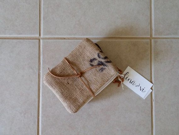 Set of 3 Burlap zipper pouches polka dots neutral by LinaandVi