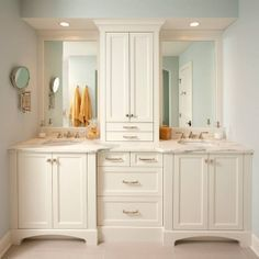 master bath tall cabinet in center of 2 sinks - google search