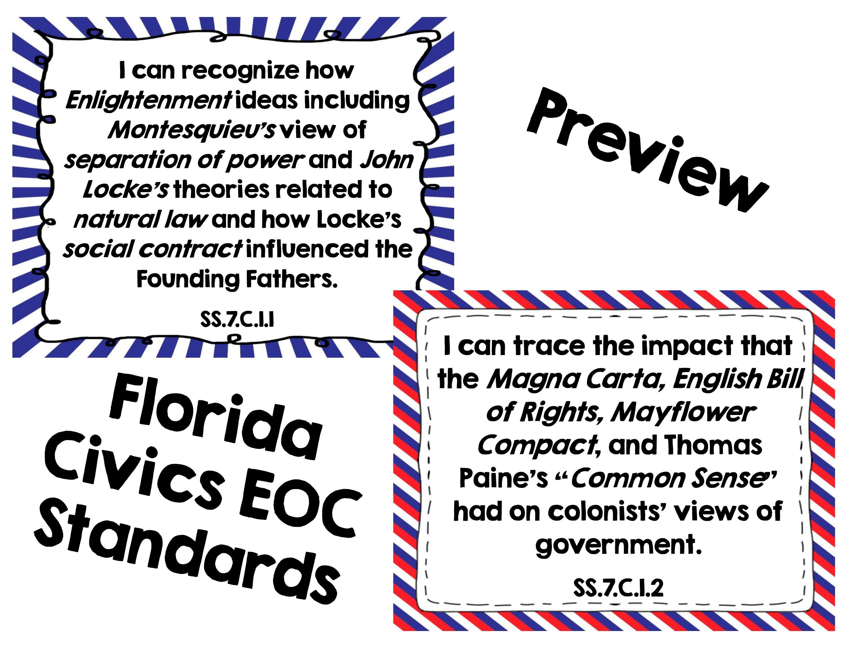 7th Grade Florida Civics Benchmarks I Can Statements I Can Statements Teaching I Can