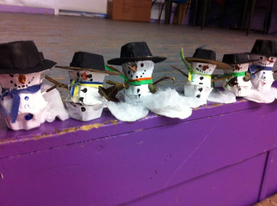 Bonhommes de neige avec carton d œufs