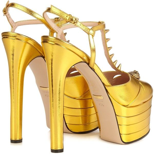 991b5f970af Gucci Angel metallic-leather platform sandals ($1,100) ❤ liked on ...