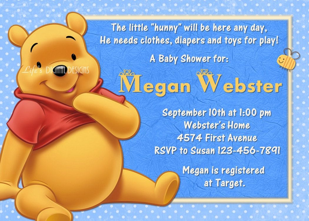 Winnie the Pooh Baby Shower Invitation Blue Customizable Printable ...