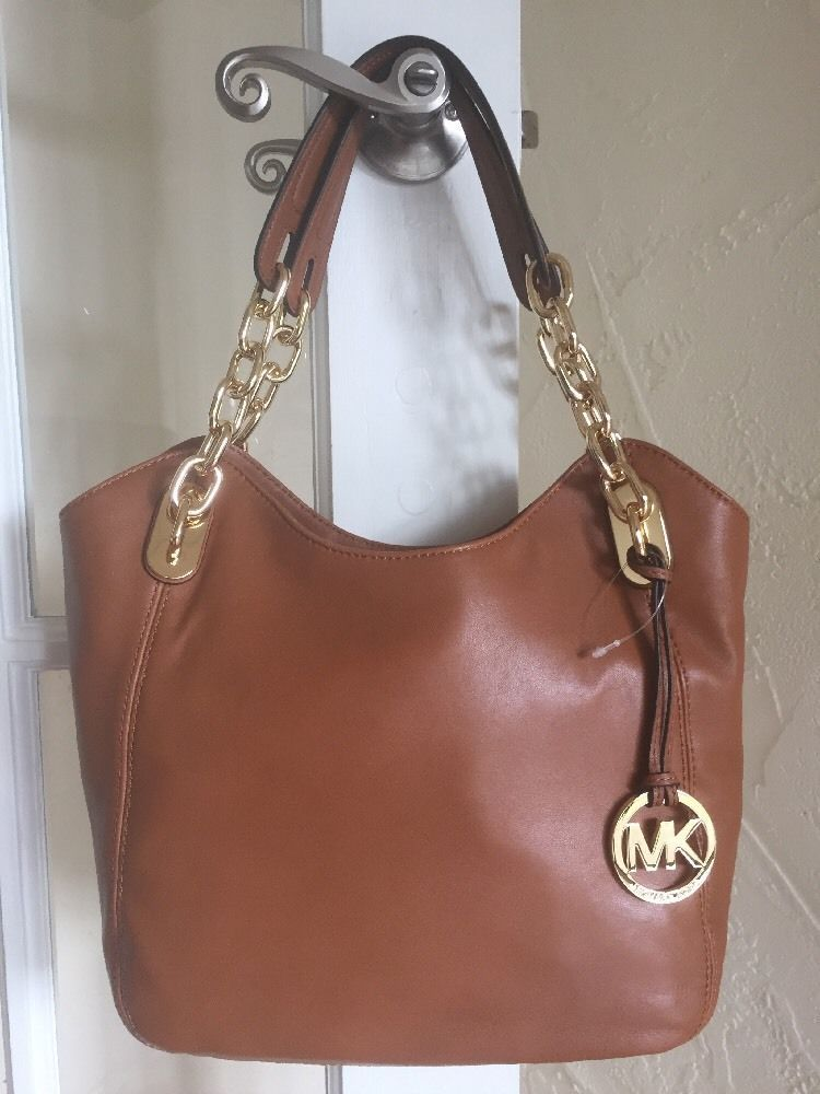 51e3e827c117 Michael Kors Lilly Medium Shoulder Tote Walnut Brown Leather #MichaelKors  #TotesShoppers