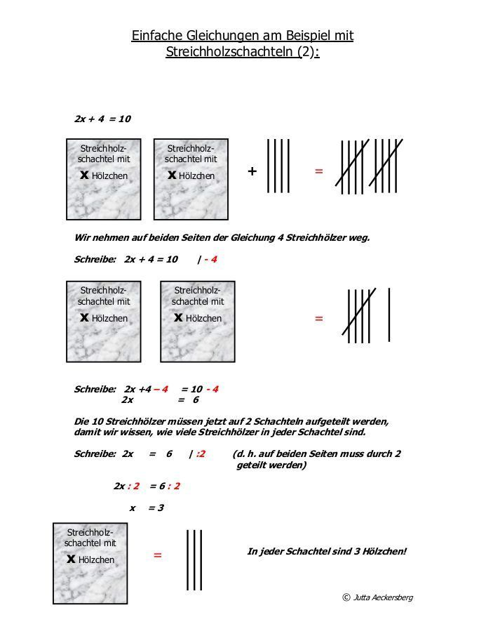 Einfache Gleichungen am Beispiel mit Streichholzschachteln (1