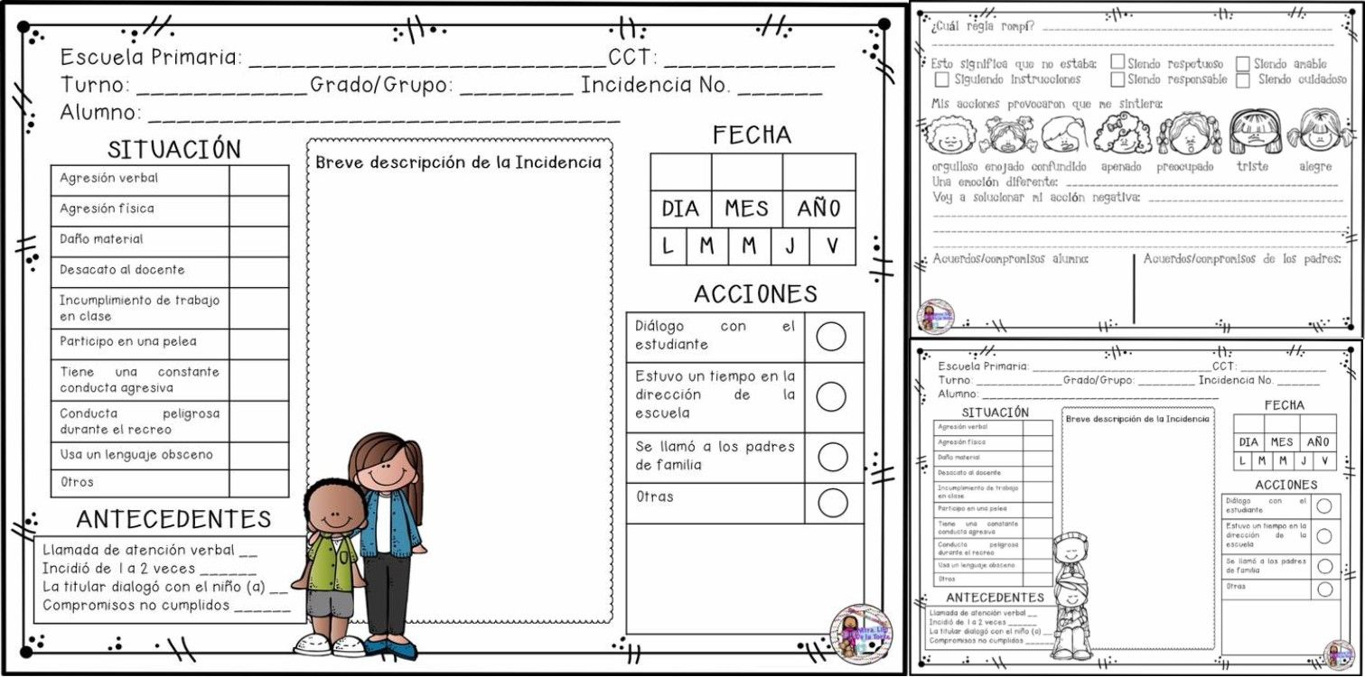 Fichas para el registro de incidencias en nivel primaria | Educación ...