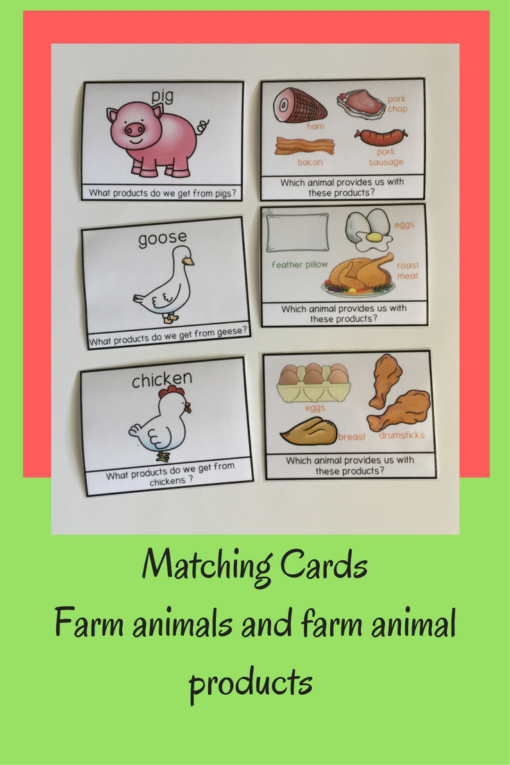 Farm animal products cards and more farm animal themed