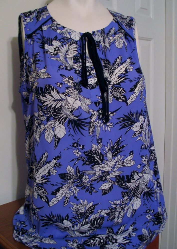 Anthropologie Pleione Sleeveless Blouse Tunic Top Size Small Blue Floral Black  #Pleione #Blouse #everyday