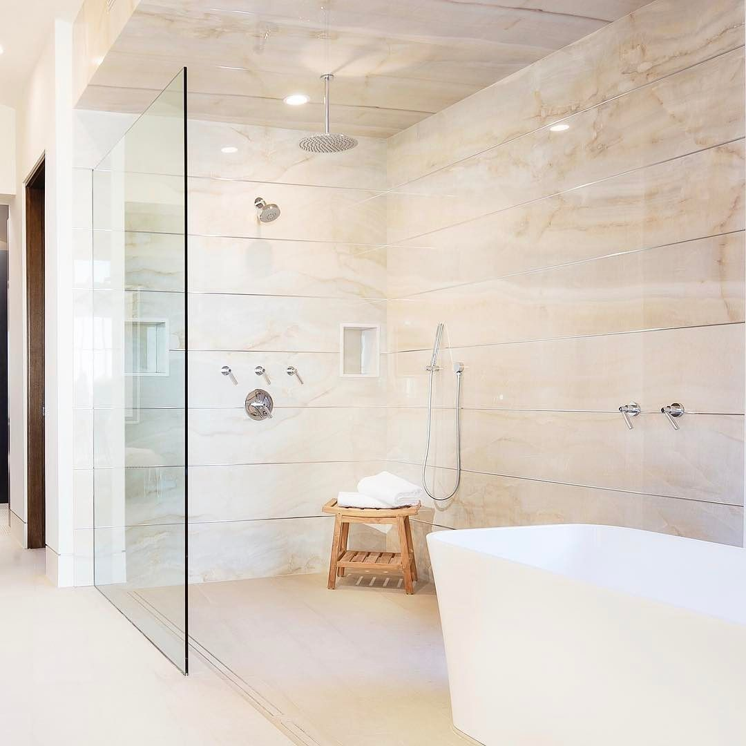 Having An Open Shower Tub Concept Gives Off All The Relaxing Spa Vibes Builder Spinnakerdevelo Stylish Bathroom Open Concept Bathroom Bathroom Design