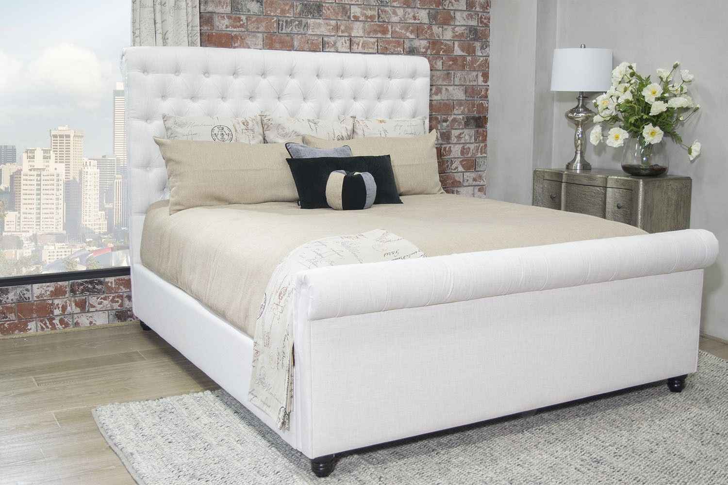 Mor Furniture For Less The Chesterfield King Linen Bed