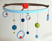 Colorful modern/fun boy mobile/blue.green.orange.brown/balls/circles/neutral/Custom Colors. $42.00, via Etsy.