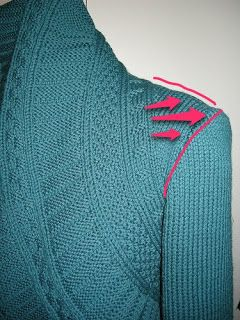 """The Sewing Lawyer: Fixing a common problem with simple shrugs -- """"Improving the pattern for my Teal Jakku with triangle insets at the shoulder.""""   [Find more of Aunt Ruth's favorite knitting tech pins at https://www.pinterest.com/yrauntruth/fiber-knit-techniques-tutorials/ ]"""
