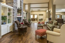 Luxury #Healthcare #Design firm #TumbleweedInteriors creates a welcoming, home-like design for a #SeniorLiving Center, Bethany Home.  It's filled with warm #color, #sustainable #materials and #nature inspired elements.  Located in #Lindsborg #Kansas betweeen #Salina and #McPherson near #Wichita