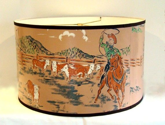 Vintage Wallpaper Large Drum Shade 1940 S Cattle Call By Fondue Vintage Western Decor Vintage Wallpaper Western Decor