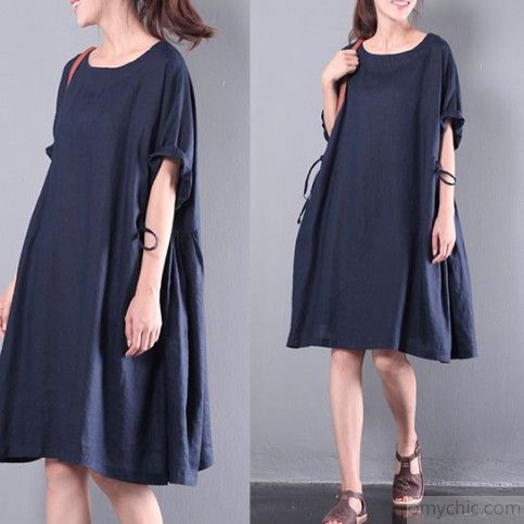 fda7196133e navy baggy loose linen dresses plus size sundress patchwork short sleeve  shift dress