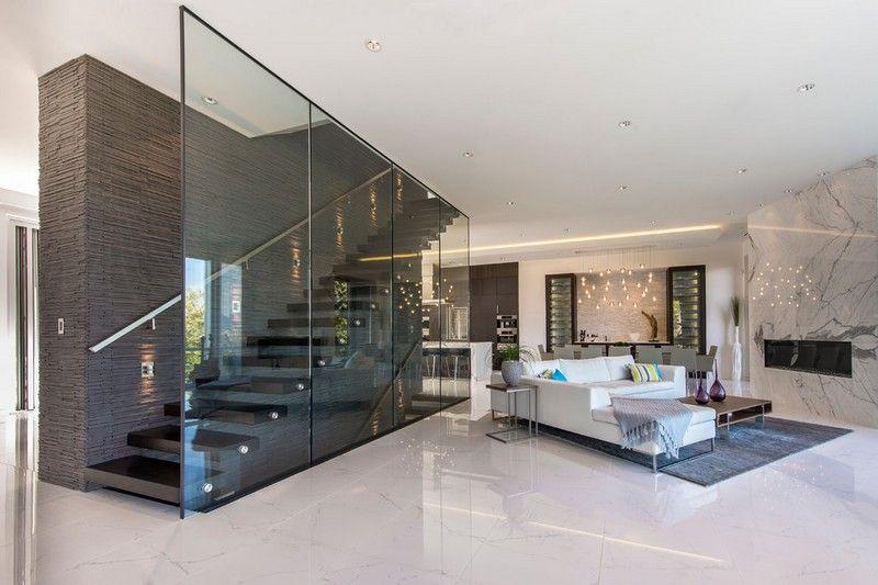 penthouse wohnung mit marmor kaminverkleidung - Marmorboden Wohnzimmer