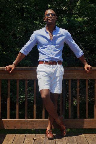 Men's Light Blue Long Sleeve Shirt, White Shorts, Brown Leather ...