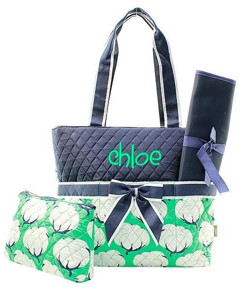 Personalized Cotton Fields Quilted 3pc Diaper Bag - Navy & Mint