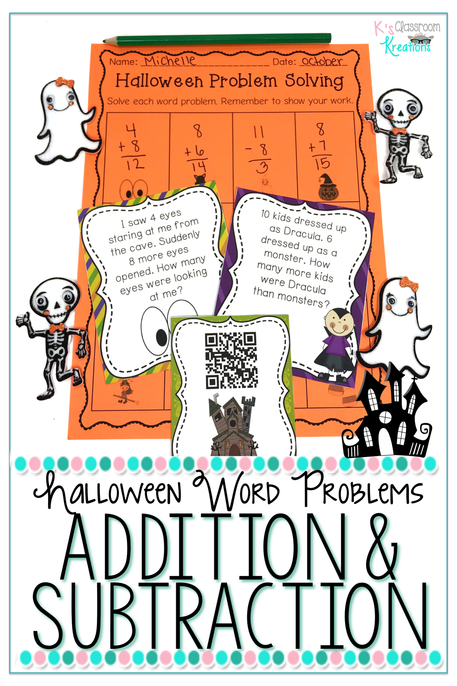 1st Grade Halloween Word Problems