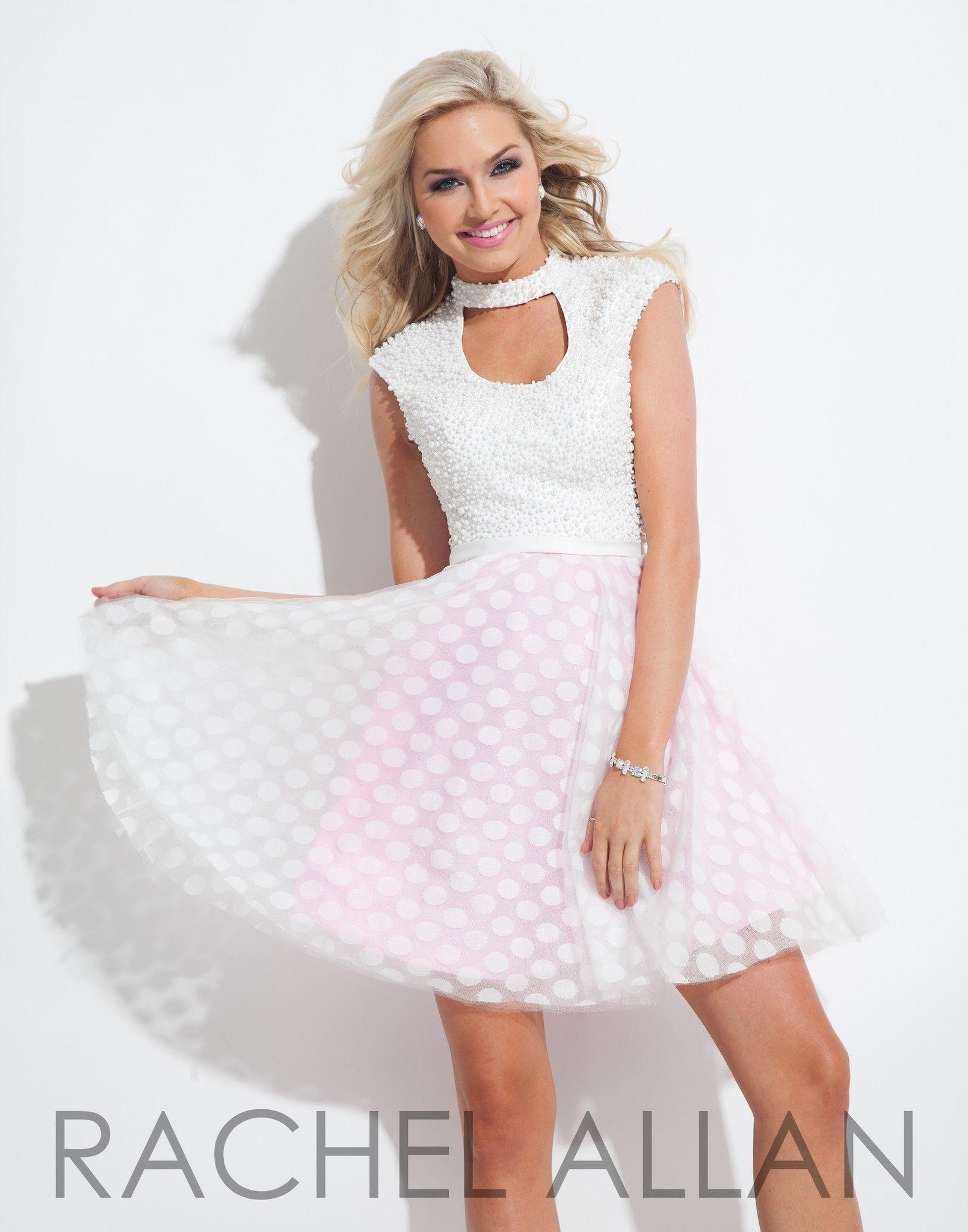 09fd2b90f3c Rachel Allan 4052 White Pink Homecoming Dress