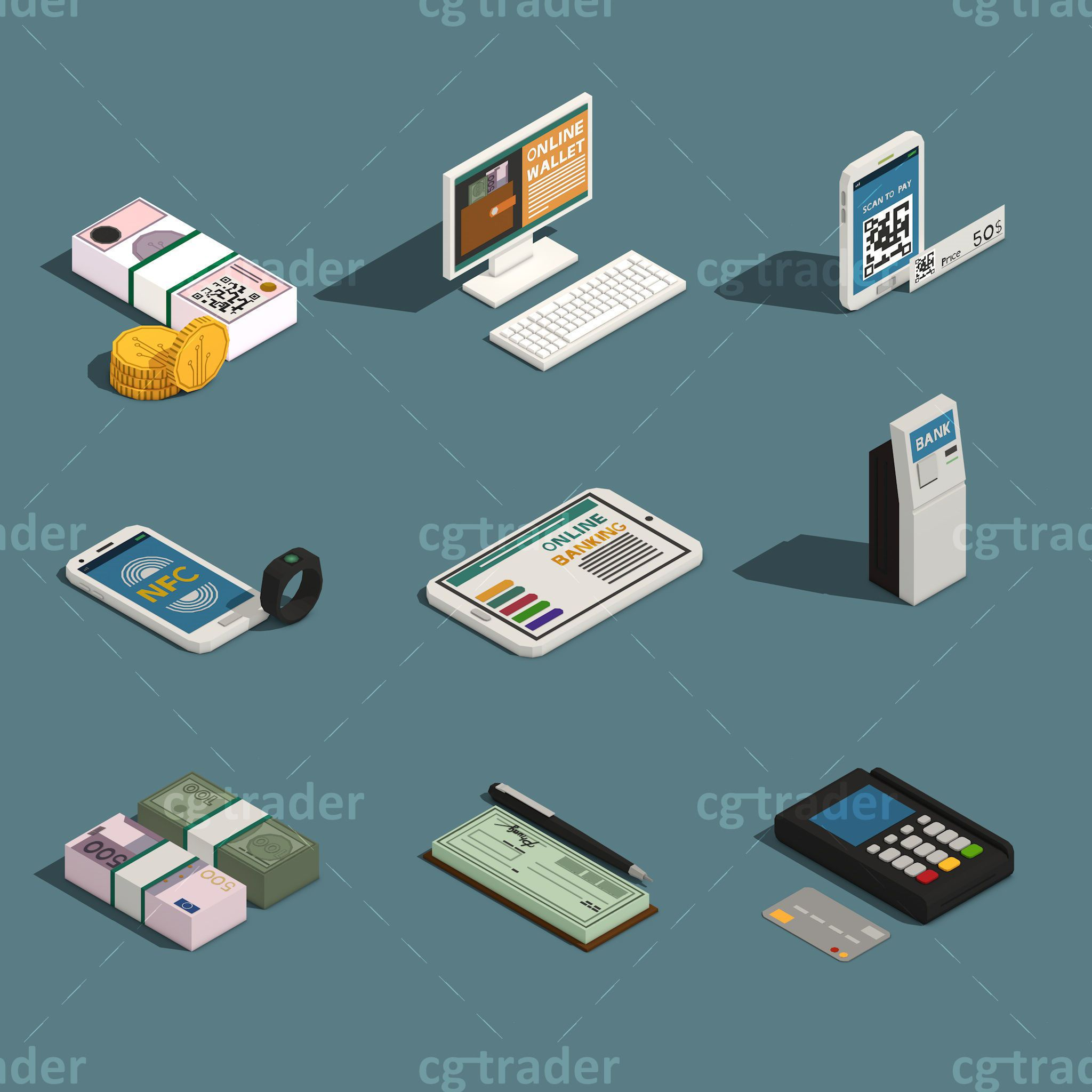 Low Poly Payment Methods Isometric 3d Model Low Poly Low Poly