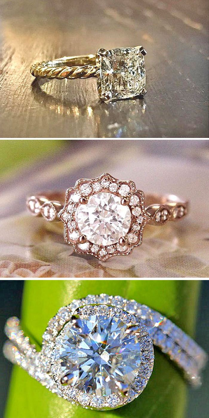 24 Dazzling Diamond Engagement Rings Of Her Dreams. If you want something traditional choose round rose gold diamond engagement rings or princess-cut diamonds. See more:  http://www.weddingforward.com/diamond-engagement-rings/ #diamond #engagement #rings