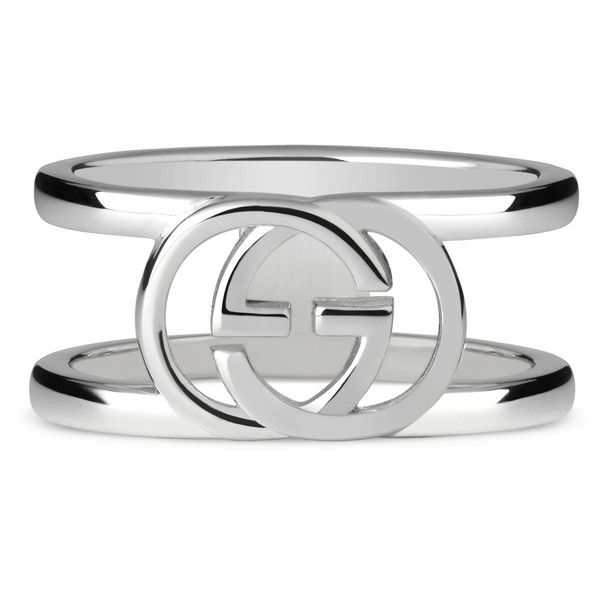 cfe493d3b Gucci Wide Ring With Interlocking G Motif ($225) ❤ liked on Polyvore  featuring men's fashion, men's jewelry, men's rings, silver, mens wide band  rings and ...