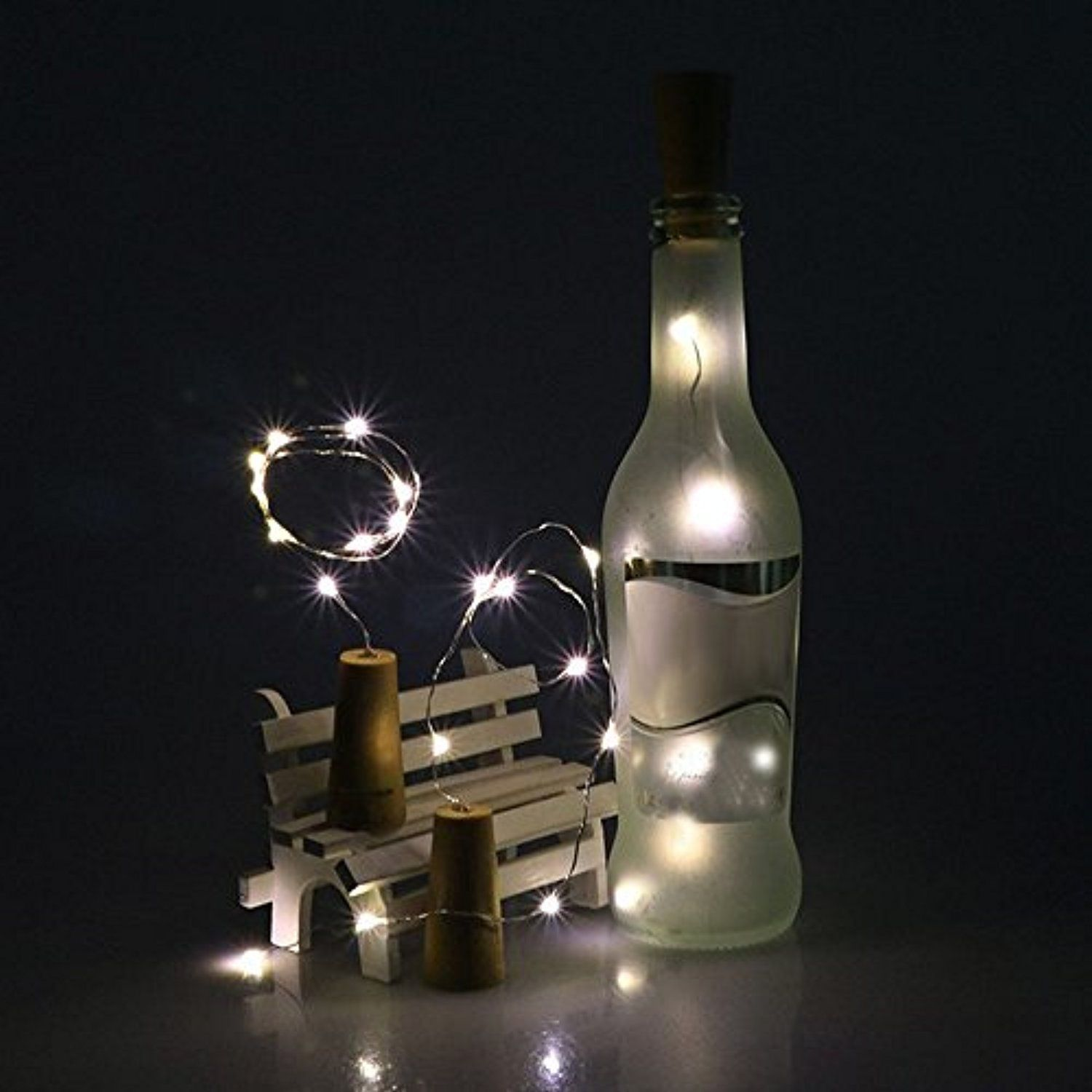 Led Light ,Lavany 4Pcs Solar Wine Bottle Cork Shaped String