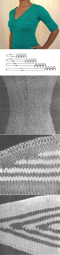 Частичное вязание спицами. Техника вязания вытачек | Волшебство нити. Азы домоводства.