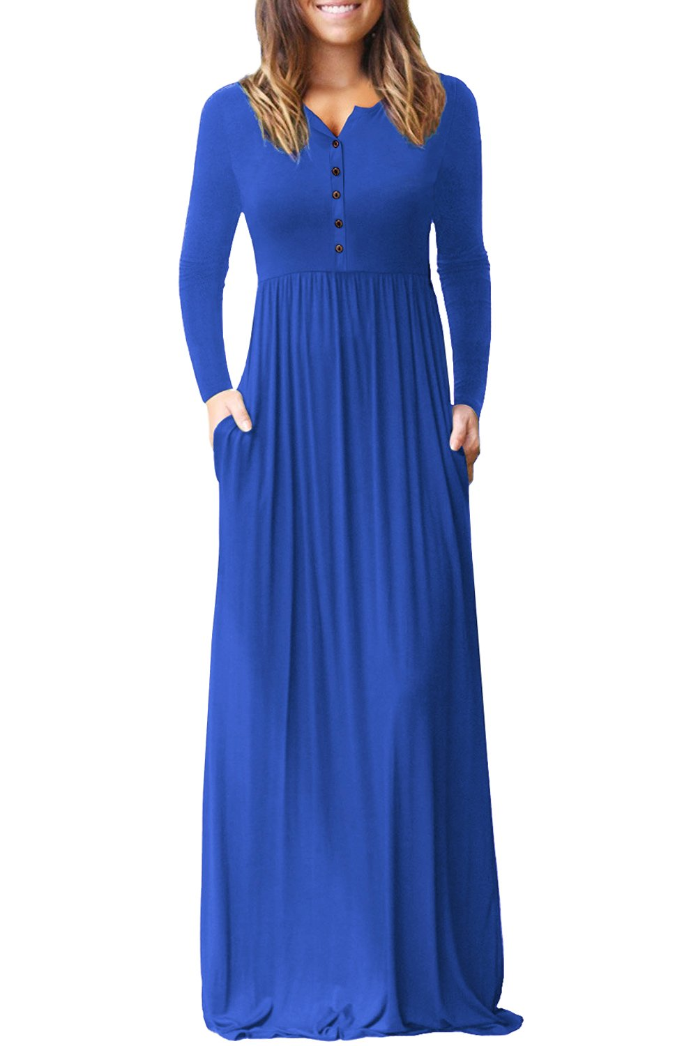 Royal blue long sleeve button down casual maxi dress products