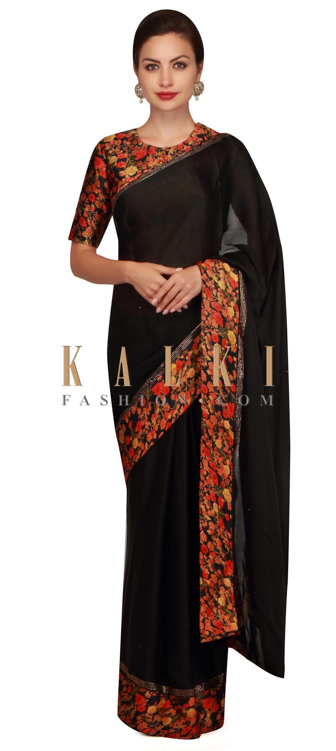 4aaebc0c50 Phantom black saree with floral printed border and kundan only on Kalki