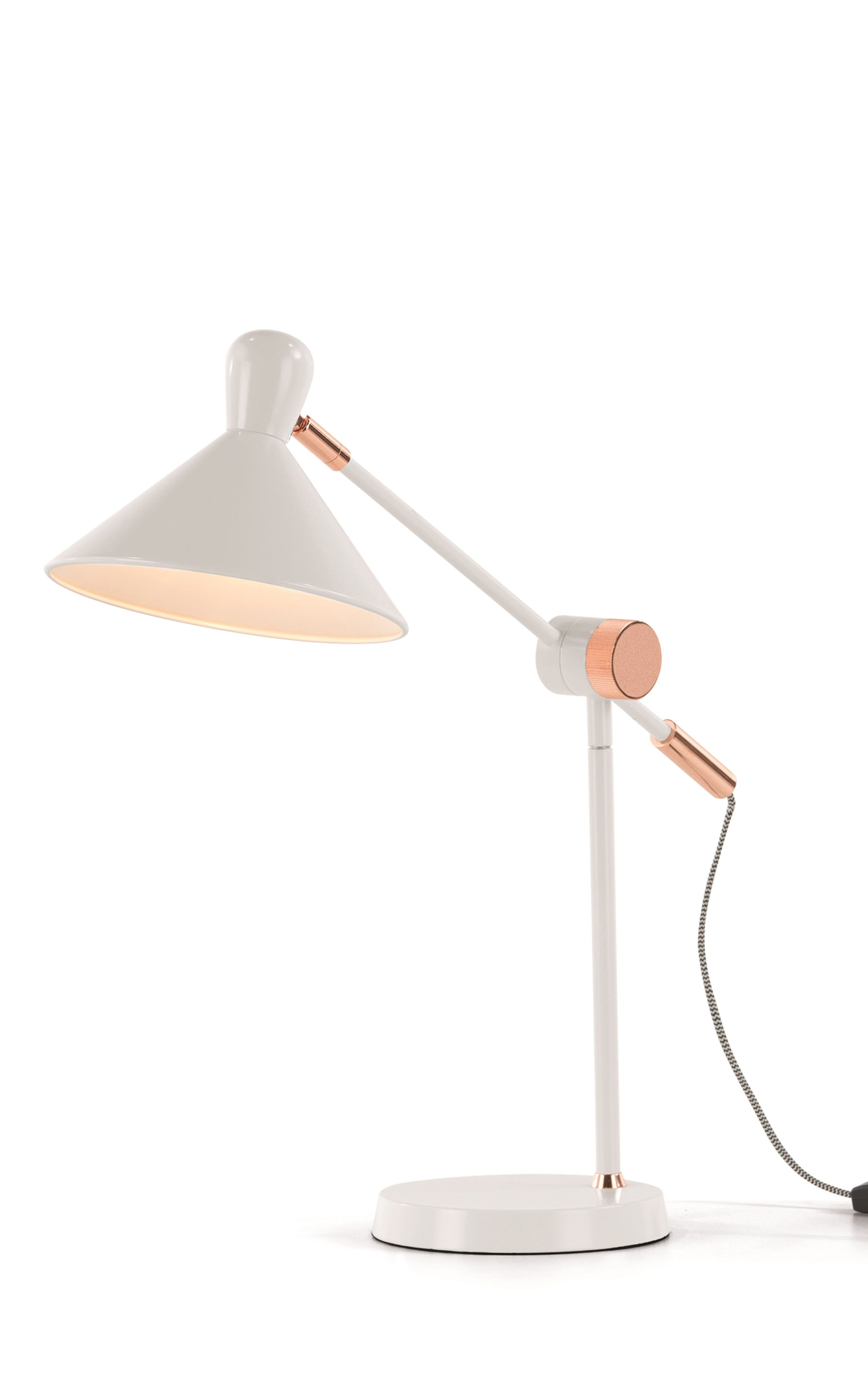 Ogilvy task table lamp matt soft grey and copper gray lights ogilvy task table lamp in matt soft grey and copper a collaboration between made geotapseo Gallery