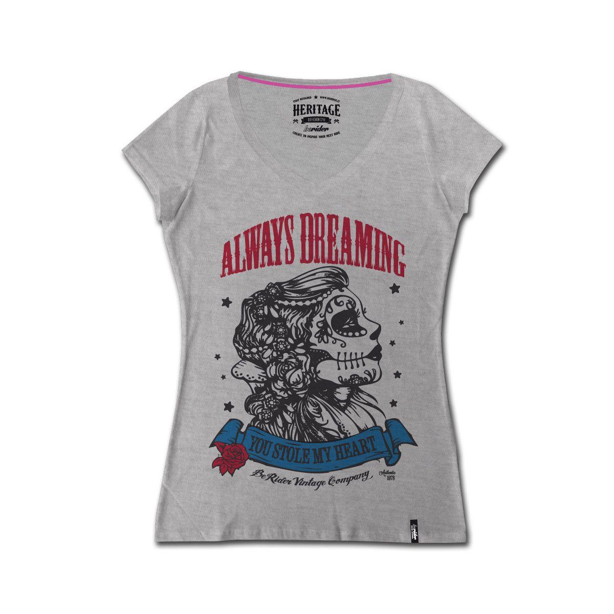 Emblema della lady biker, la tshirt si presta per qualsiasi look, sportivo e elegante. La stampa vintage inoltre imprime carattere e stile unico.
