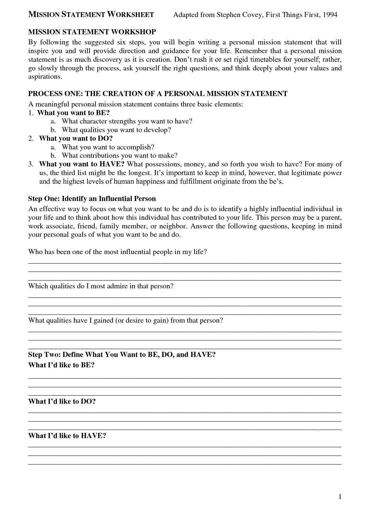 worksheet Personal Mission Statement Worksheet sean covey mission statement worksheet bing images images