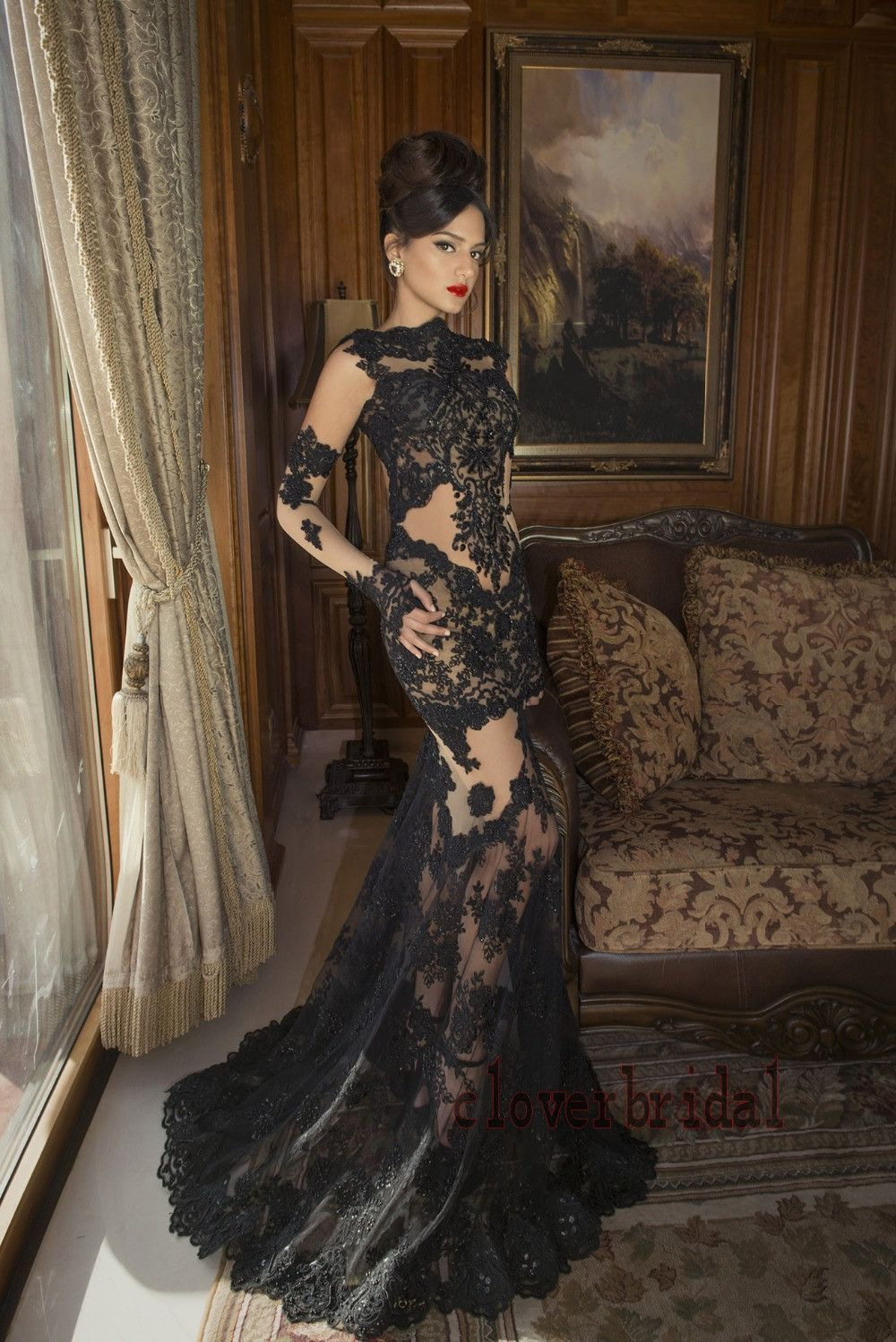 Sexy sheer see-though lace appliques mermaid black gothic wedding ...
