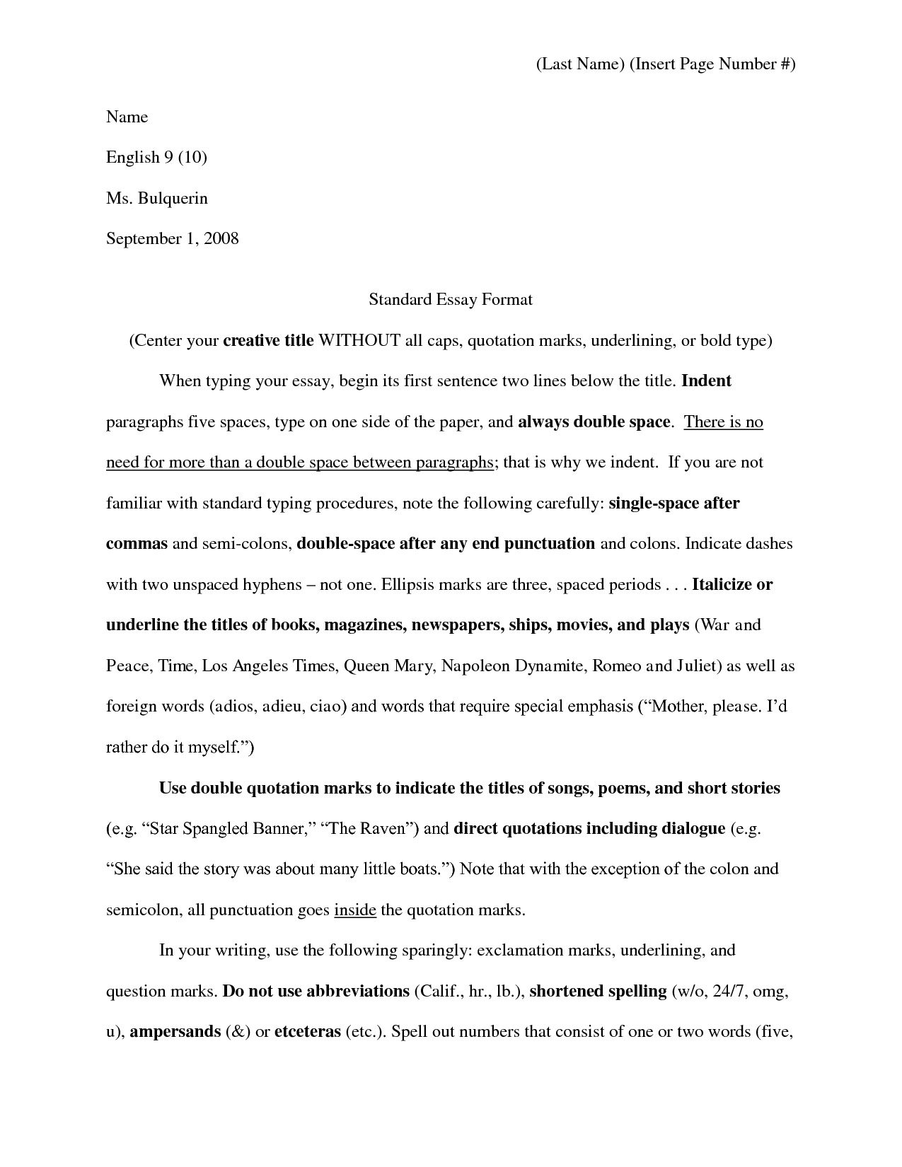 standard essay page format Try to critique your own essays in the same way this sample essay is critiqued below the introduction sample college application essay 1.