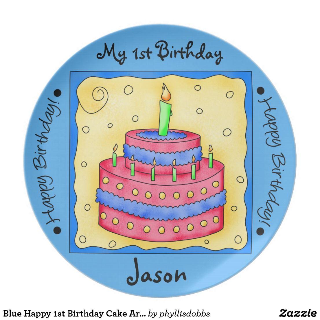 Blue Happy 1st Birthday Cake Art Name Personalized Custom Plates