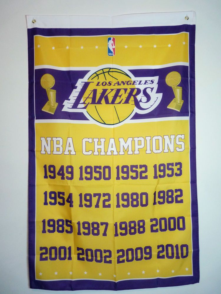 a13973256ed Los Angeles Lakers 3x5 NBA Champions banner flag pennant poster ...