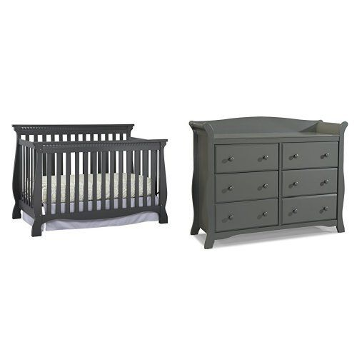 Stork Craft Venetian Convertible Crib Gray And Avalon 6 Drawer Universal Dresser Http