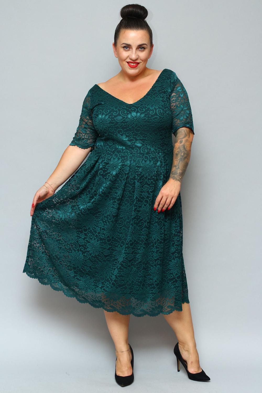 Sukienka Koronkowa Rozkloszowana Wenecja Butelkowa Zielen Sklep Internetowy Plus Size Dresses With Sleeves Long Sleeve Dress Dresses