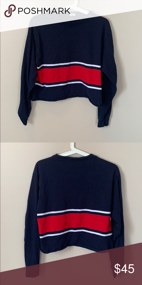 72b0e7f5324b80 Tommy Hilfiger Cropped Long Sleeve Navy blue cropped long sleeve with red  and white stripe front and back. Tommy Hilfiger Tops Crop Tops