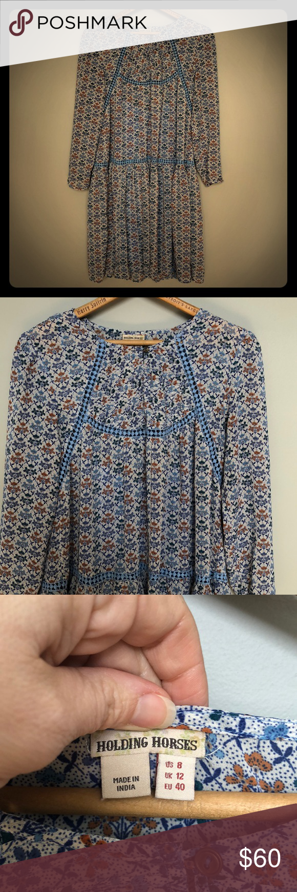 033f24d150743 Holding horses dress Anthropologie holding horses dress in a size 8. Love  the flower and crochet like detailing. Sheer dress with slip nwot  Anthropologie ...