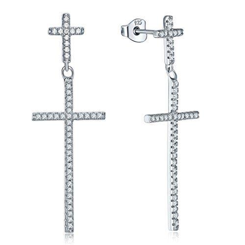 925 Sterlingsilber Zirkonia mit Weißgold überzogene Kreuz…