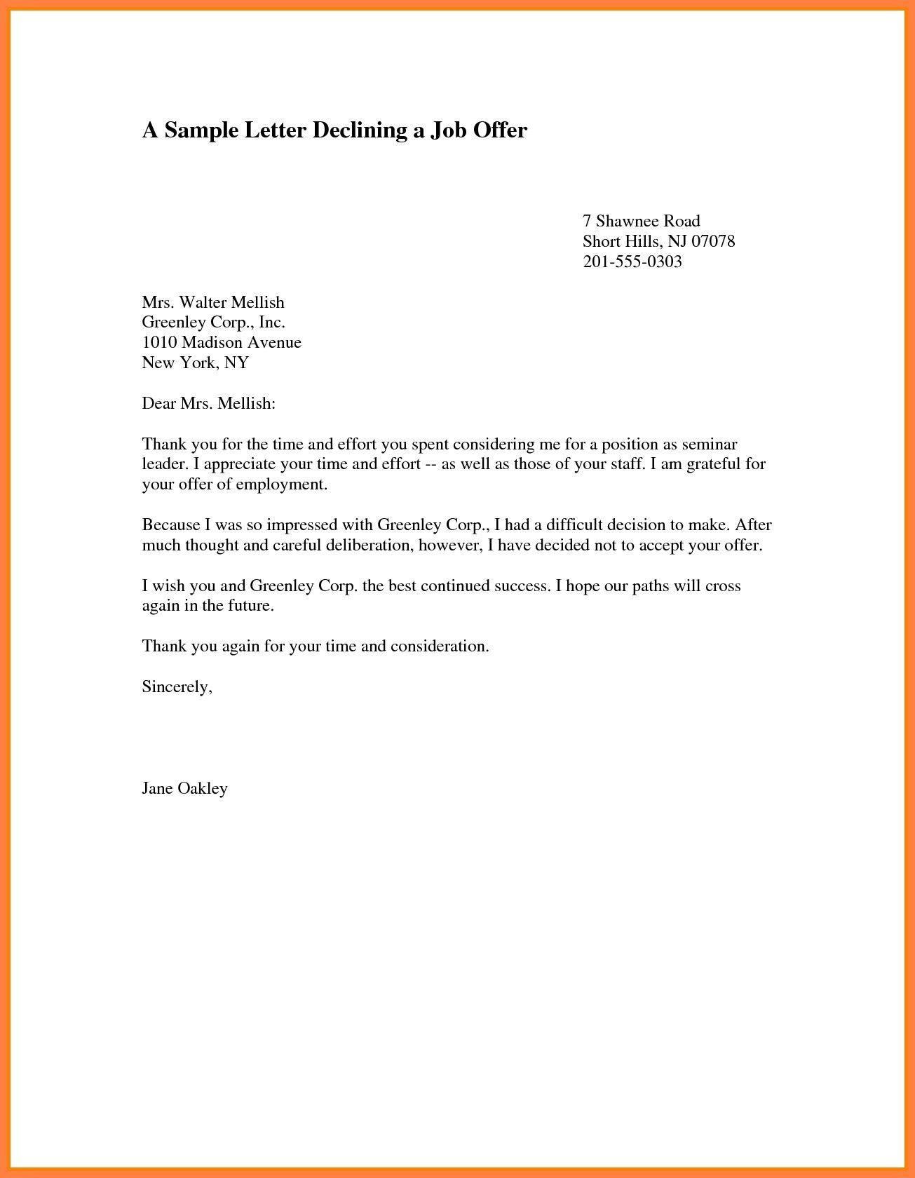 Fresh Declining A Job Offer Letter Sample Job Letter Job Offer