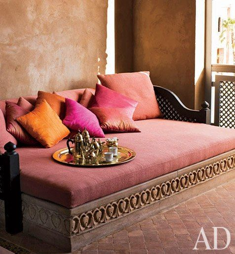 Moroccan Fantasy   Wall colors, Bench and Fabrics